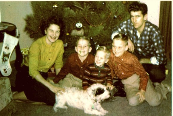 Dad, his elder brothers, parents, and Tippy.